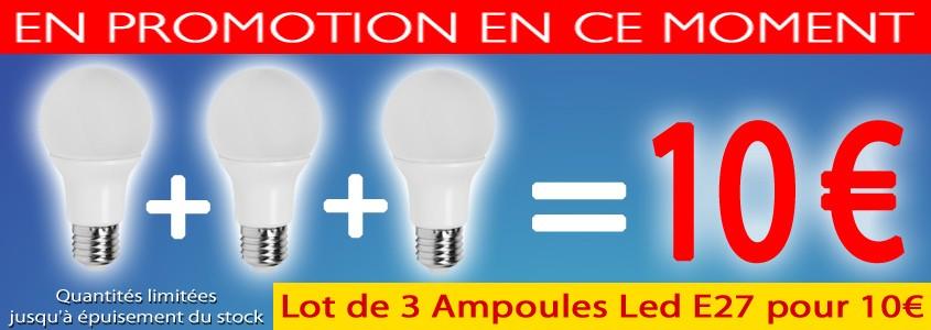 Lot 3 Ampoules Led E27 7,5W